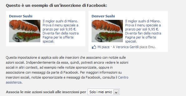 Impostazioni azioni sociali Facebook