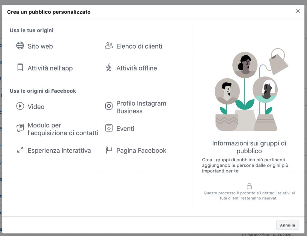 pubblici personalizzati schermata facebook