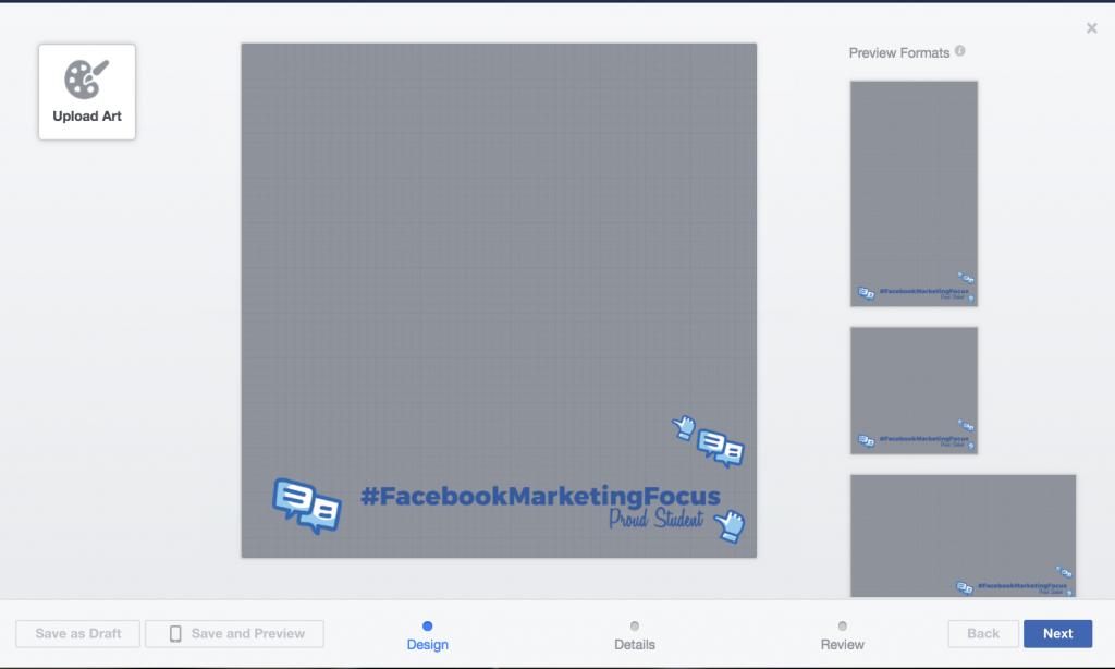 creazione frame facebook step 1