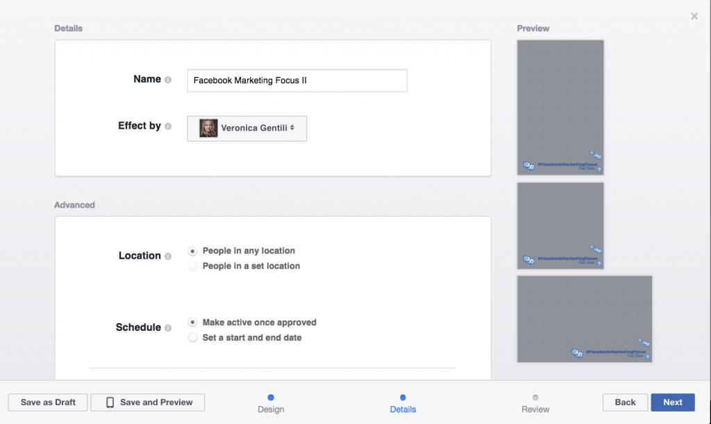 creazione frame facebook step 2