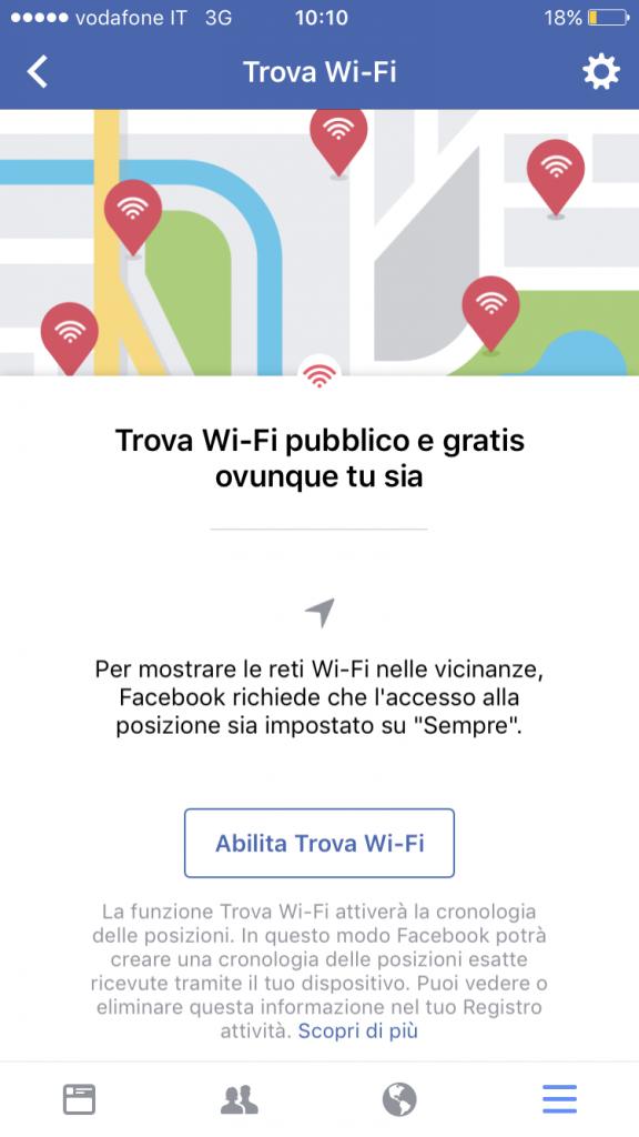 facebook wifi schermata utente