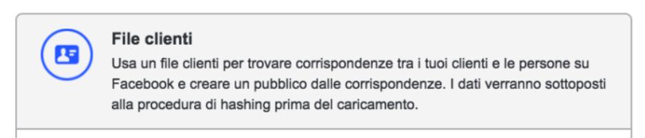 file clienti pubblici personalizzati facebook