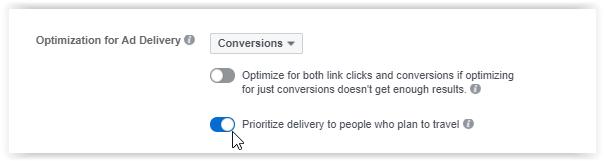 Facebook trip consideration opzione
