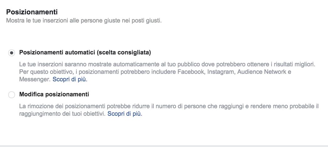 posizionamenti automatici facebook ads