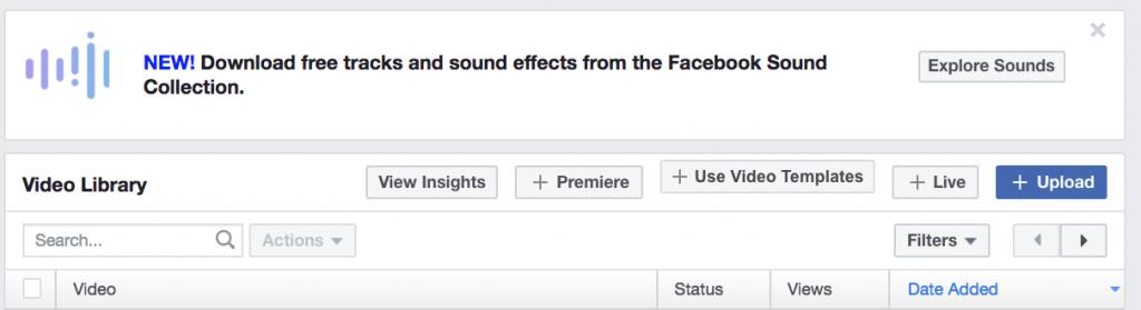 dove trovare facebook video creation kit