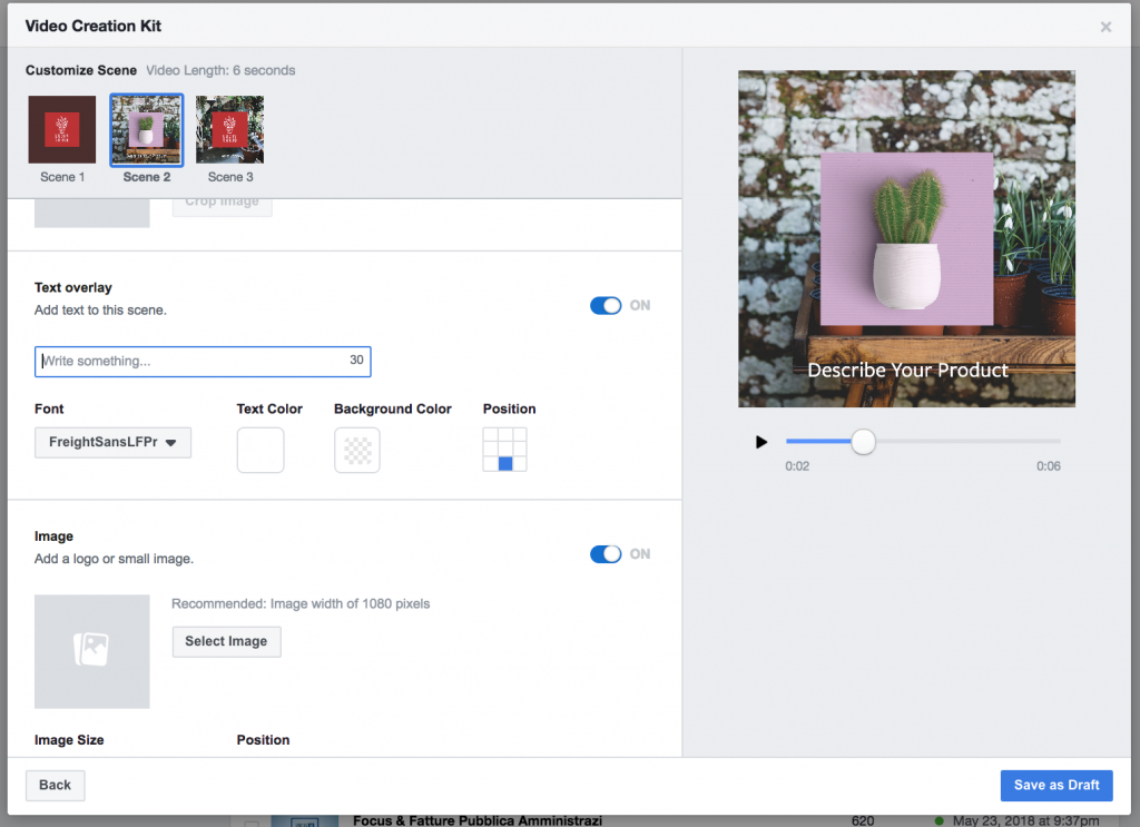 utilizzo template facebook video creation kit