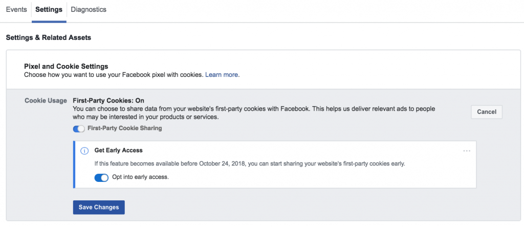 facebook cookie prima parte
