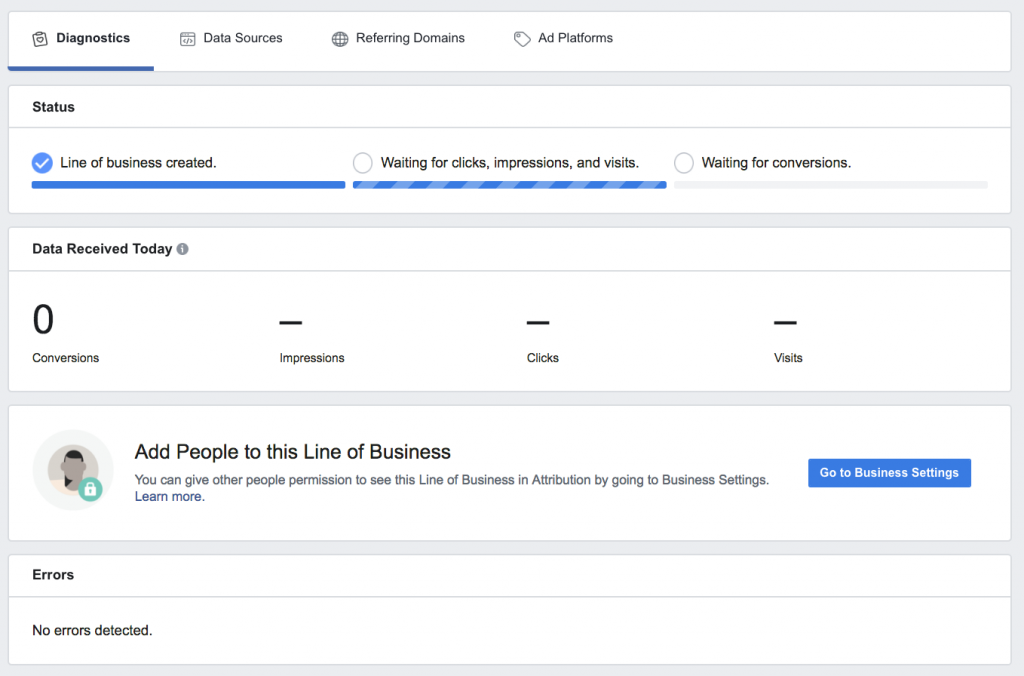 facebook attribution lines of business