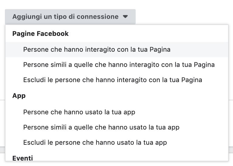 Facebook Ads - targeting fan della pagina