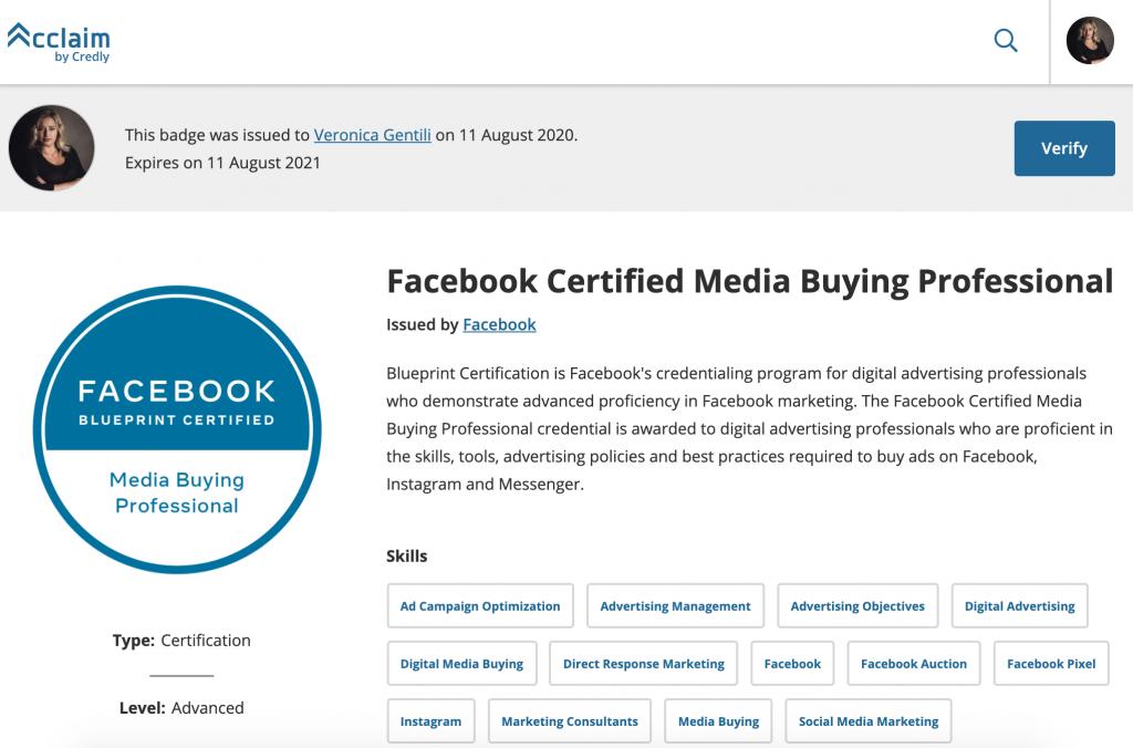 certificazione blueprint facebook veronica gentili